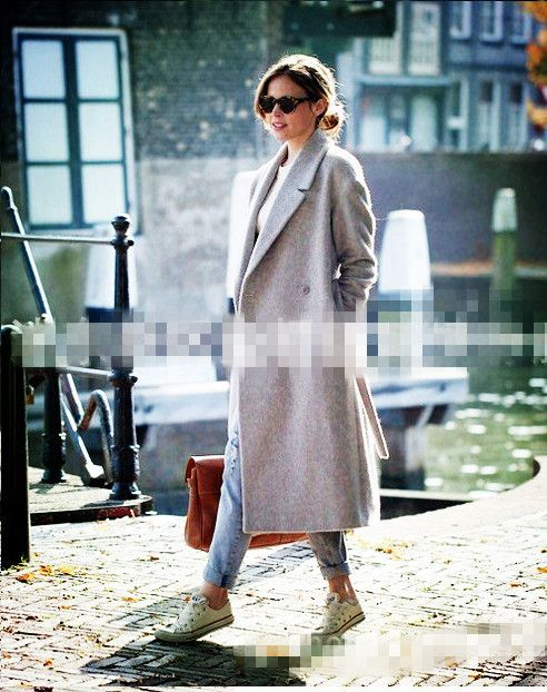 Women's Grey Wool Coats Winter Long coat 2016 New Design Hollywood Warm x-Long Oversize Imitation Cashmere Coats Light Grey