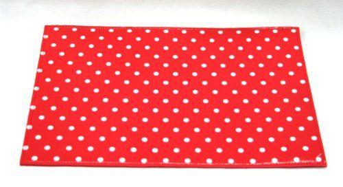 Tovaglietta Americana Rossa Pois Bianchi, plastificata sopra e panno lavabile sotto. By C&C Creations Store