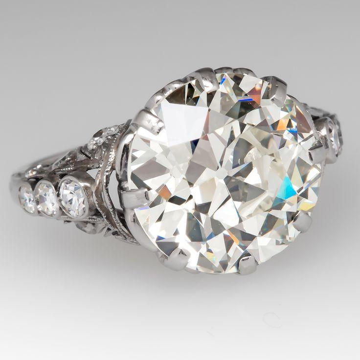 Massive 6 Carat Old Euro Diamond Antique Engagement Ring