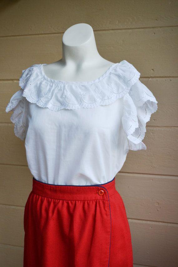 Vintage 1970s Red Wrap Skirt Nautical Skirt by founditinatlanta, $25.00