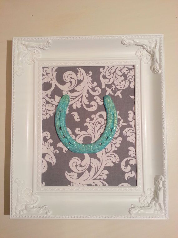 Framed Lucky Teal Glittered Horse Shoe by LuckyPonyShop on Etsy @Melissa Van Veen you could do yellows!