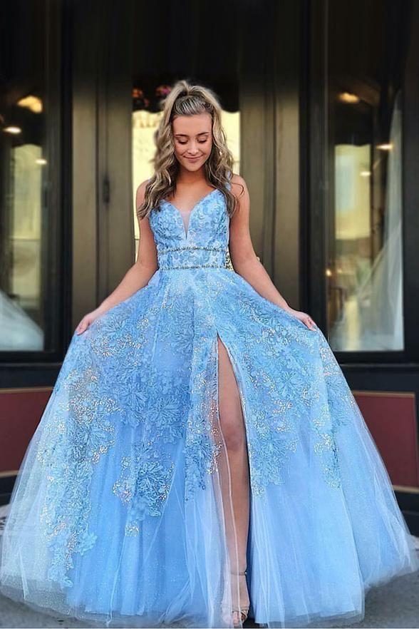 fc5cc5fca0d9 B| Chicloth Light Blue Floor Length Sleeveless Lace Prom Dresses in 2019 |  Chicloth Prom Dresses | Vestido de festa, Festa, Roupas