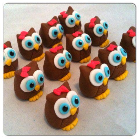 Owl Cupcake toppers www.HauteTart.Etsy.com