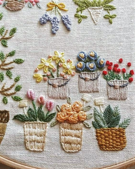 Embroidered baskets