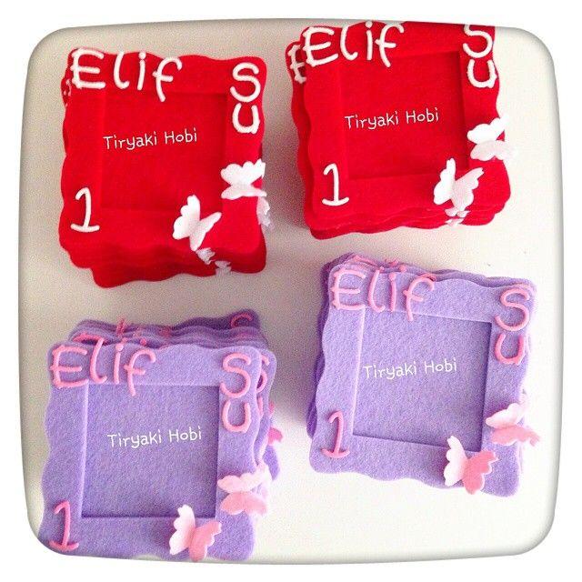 ♥ Tiryaki Hobi ♥: Keçe çerçeve magnet - Elif Su ---- felt frames