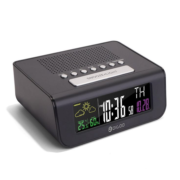 Digoo DG-FR100 SmartSet Wireless Digital Alarm Clock Weather Forecast Sleep with FM Radio Clock at Banggood