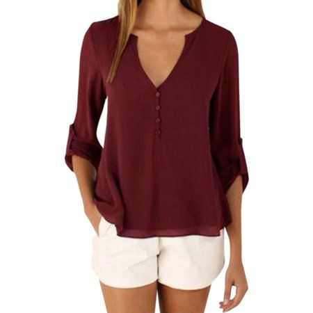 37f0cb34f9495 Buy STARVNC Women Chiffon V-Neck Button Back Solid Long Sleeve Blouse Top  Shirts at Walmart.com