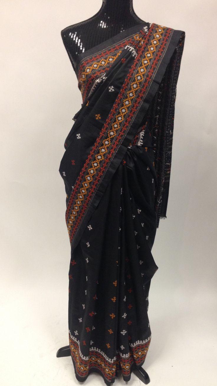 Pure Silk Saree with Kutchi Hand Work - Black