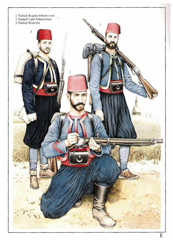 Turkey; L to R  Reservist, Regular Line Infantry & Light Infantry, Russo Turkish War 1877 from Osprey MAA 277