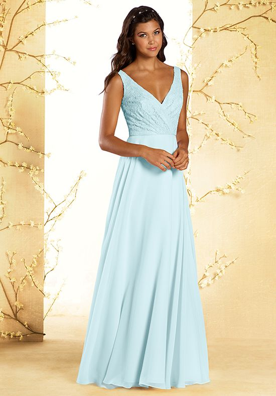 Blue Lace V-Neck Bridesmaid Dress | Style 542 by Alfred Angelo |  http://trib.al/8SuVQGw