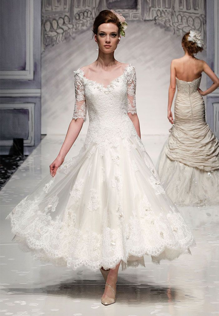 Vintage chic this is an ankle length lace wedding dress for Ankle length wedding dress with sleeves