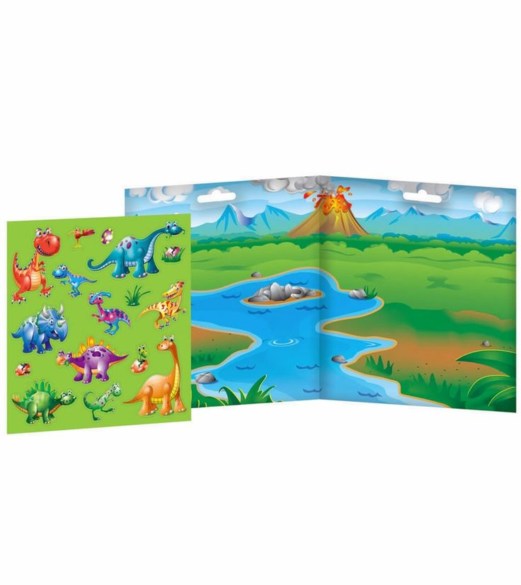 """The play set features a cartoon lagoon, volcano, and mountain landscape on a convenient 14.5"""" x 8"""" playboard, waiting for kids to construct a prehistoric scene using magnetic dinosaurs. These 16 sturdy magnet pieces are easy for small hands to hold, so kids can move pieces around the lush landscape to create stories and play games. Perfect for travel, the play set will lead to imaginative creations that will really stick! #dinoage #dinosaurs #magnets #imaginetics"""