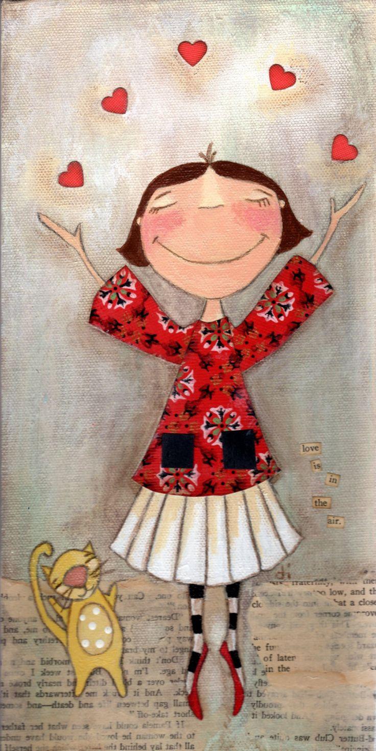 Print of my original Mixed Media Painting Love Is In by DUDADAZE