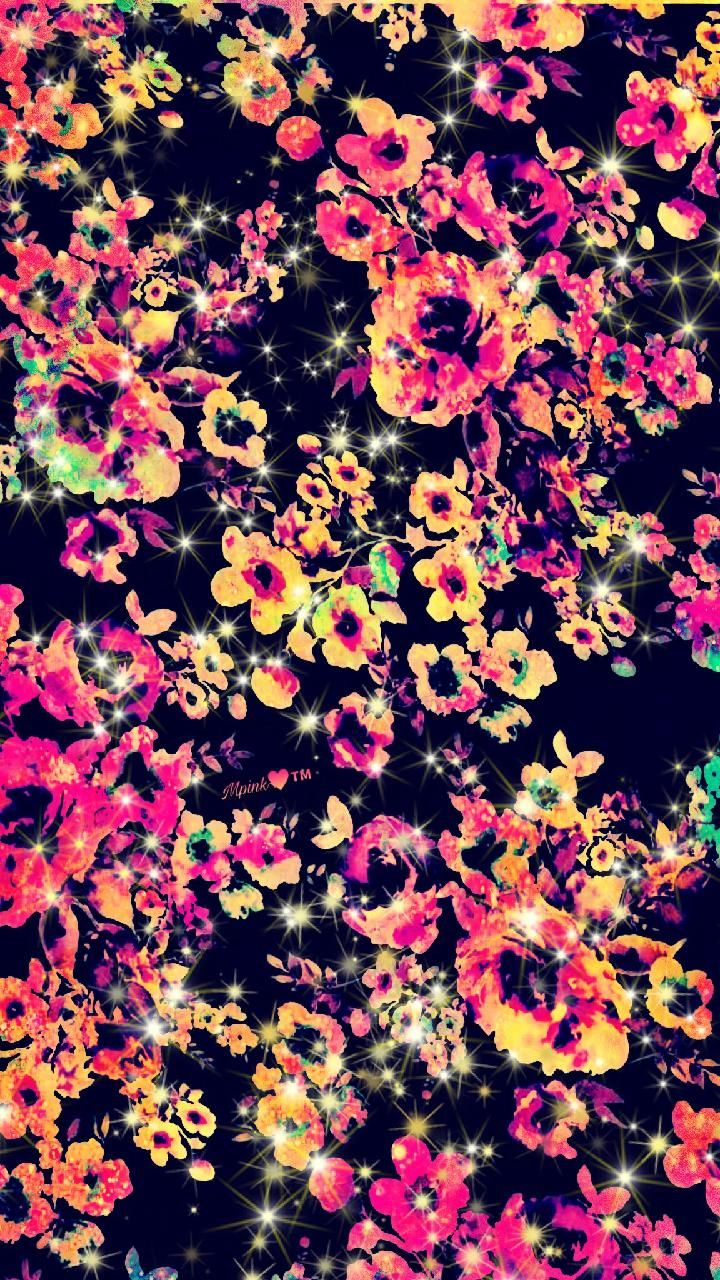 Neon Floral Galaxy Wallpaper Androidwallpaper Iphonewallpaper Wallpaper Galaxy Sparkle Flower Iphone Wallpaper Galaxy Wallpaper Vintage Floral Wallpapers