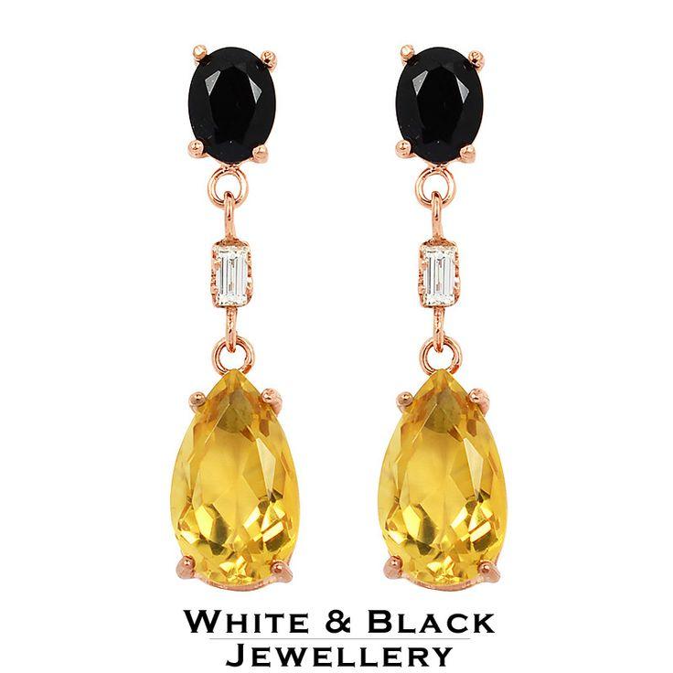 Solid rosegold earring with citrine, spinell and baguette diamonds - Színes drágaköves rosegold fülbevaló