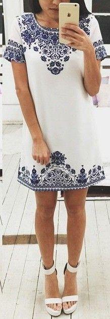 #fall #jane #lu #outfits | Porcelain Print Little Dress