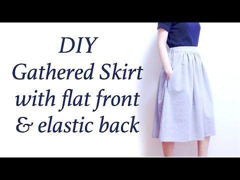 Sewing + DIY Gathered Midi Skirt / Flat front and Elastic back waistband Tutorial Easy Sewing + How to sew a Gathered Skirt ✂️ 핸드메이드 DIY + 개더 스커트 / 주름치마 만들기✧...