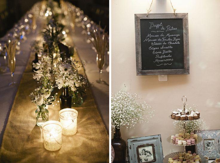 Decoracion vintage -  sencilla, tablero  mesa boda luz velas camino arpillera