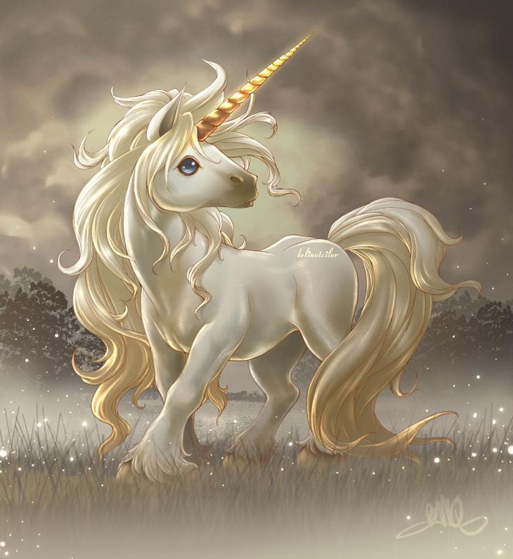 Cute Unicorn in the Sparkly Gardens A wild, shiny, well-manicured mane, a strong, golden horn and deep blue eyes make the view of this unicorn especially mesmerizing. The gentle creature is posing in a foggy country landscape while sparkly lights rise up from the ground