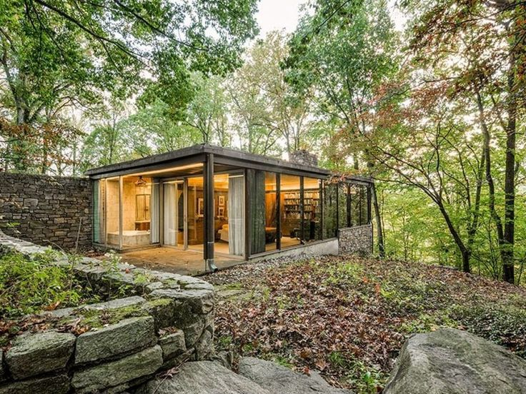 Richard Neutra's 1962 stone-clad mid-century modern Pitcairn House sits on 10 acres of Bryn Athyn, Pa. forest