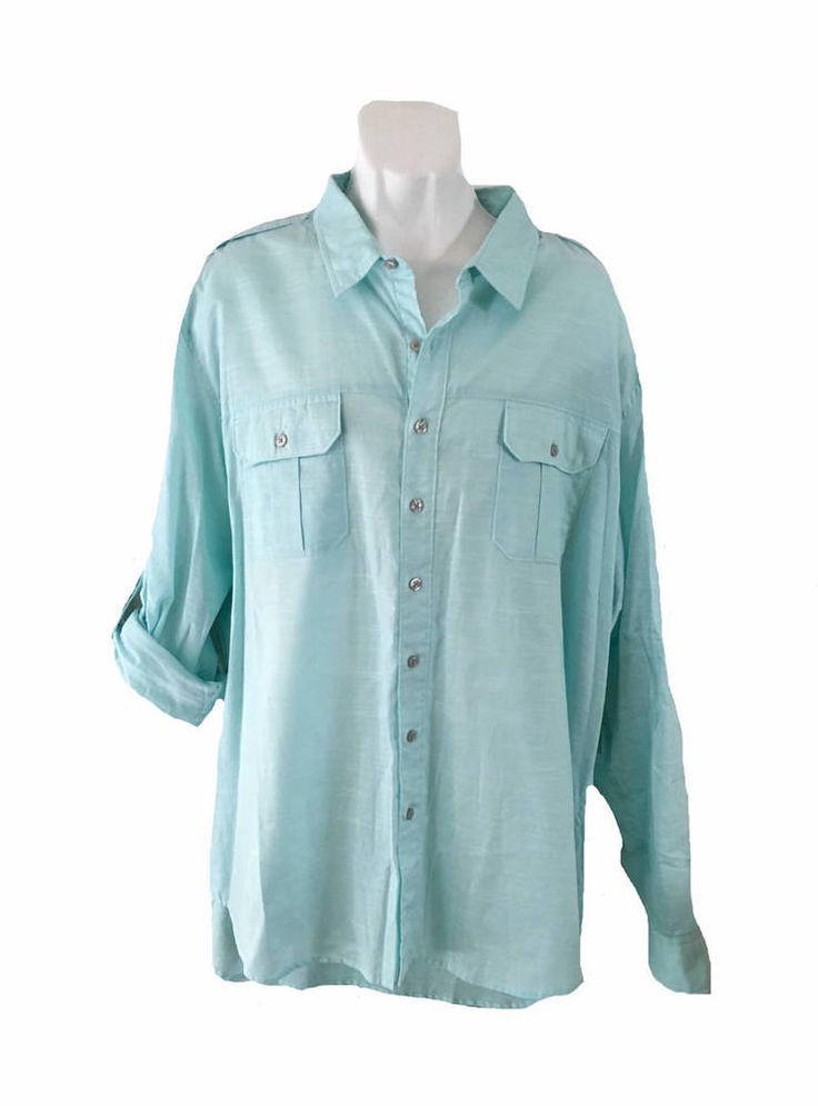 NWT Apt. 9 Light Blue Button Front Roll Up Long Sleeve Shirt Size XXL  | eBay