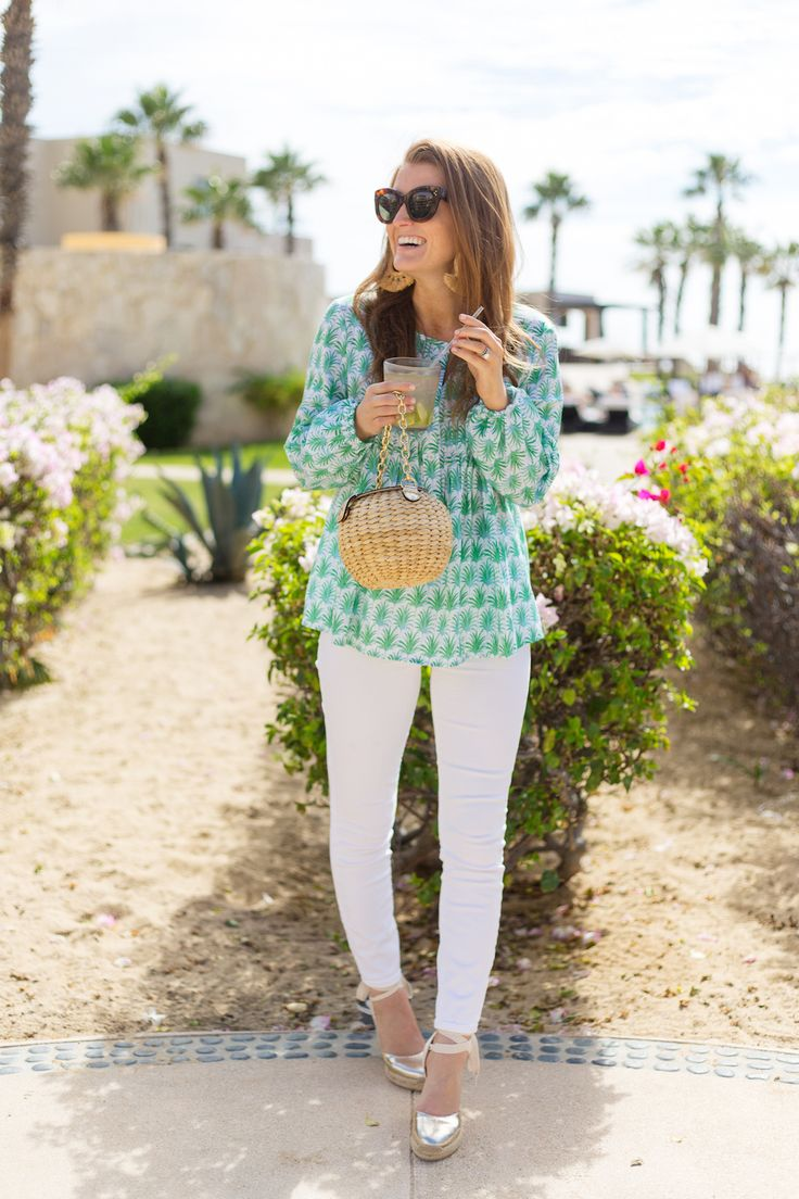 persifor beau top j.crew lookout high-rise jean in white celine caty sunglasses frances valentine honey pot straw bag and soludos gold espadrilles