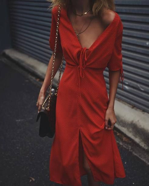$20 - $50 Bright Spring Summer Red V-Neck Low Plunge Front Tie White Spot Print Slit Cut Off Maxi Dress Spring Summer Street Style Fashion Trends Tumblr
