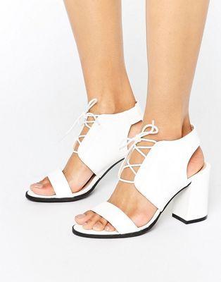 Glamorous Off White Snake Print Heeled Sandals