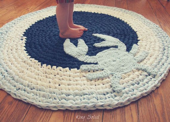 Captivating Crochet Crab Rug Navy, Sky Blue, And White Cotton Round Circle Rug In Bay