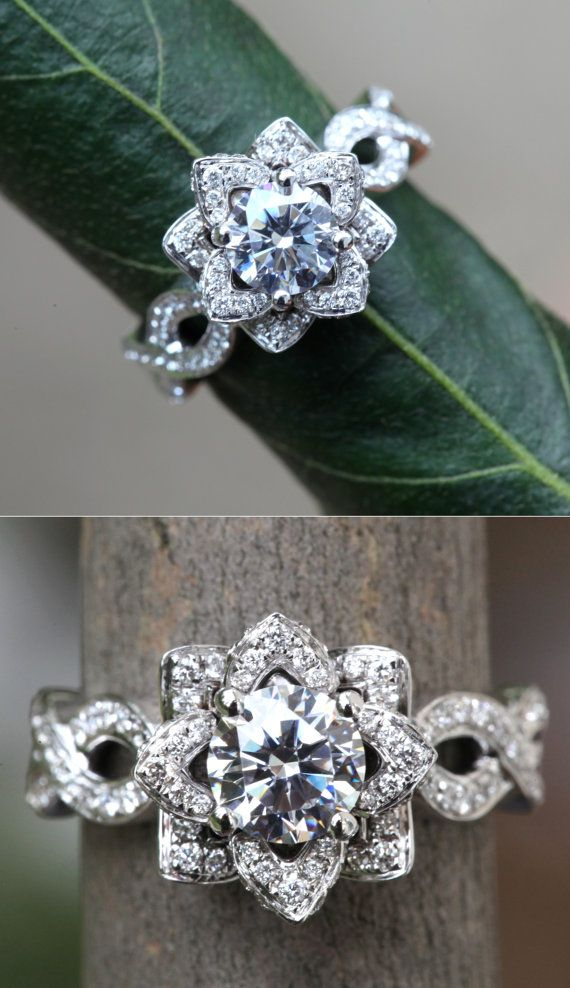 Diamond Engagement Ring Flower Wedding Ring Infinity Engagement Ring