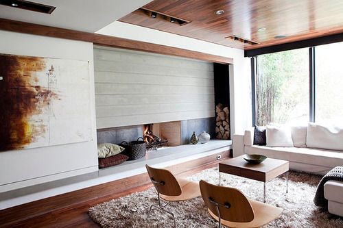 Mod Redux By Capoferro Design Build Group The Detailing Of Fireplace And Hearth Provide A Complex Focal Point For Room But Wood Flooring