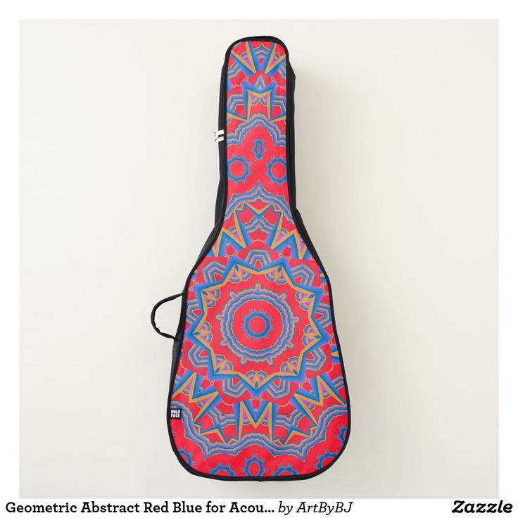 Geometric Abstract Red Blue for Acoustic Guitar Case  - A Wonderful Christmas Present or Birthday Gift for ANY Guitar Player - order it as an Electric Guitar Case or an Acoustic Guitar Case. . . .   2 pockets, Handle and Back-Pack Style Straps as well, . . .   AND SWAP-ABLE  Front Designs. -  Visit to see all the details and LOTS MORE!