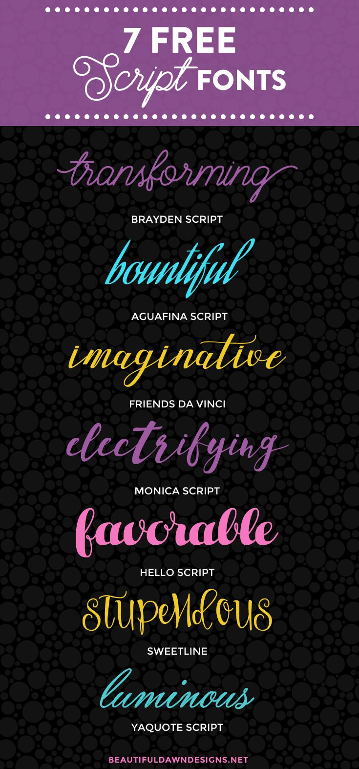 Today I'm bringing you a roundup of 7 free script fonts that are a part of my font collection. Free fonts have really come a long way. While…