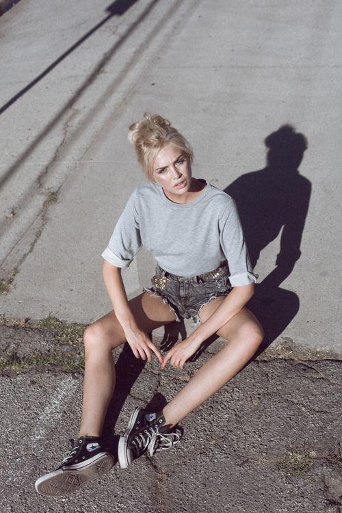 quarter length sleeve shirt, denim shorts, and high tops