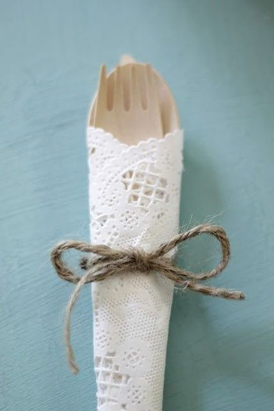 paper dollie wedding | disposable wedding silverware with a paper doily and tw... / wedding ...