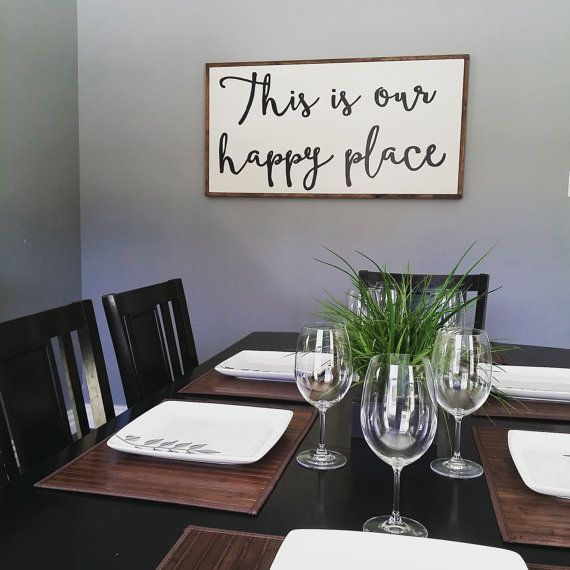 This is our happy place wooden sign large wooden sign for Large wall decor for dining room