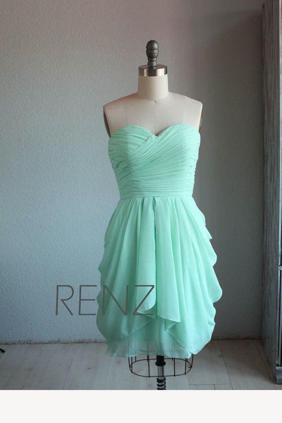 2016 Mint Bridesmaid dress, Short Wedding dress, Strapless Short Prom dress…