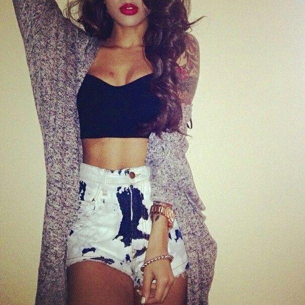 High-waisted shorts. Crop top. Sweater.