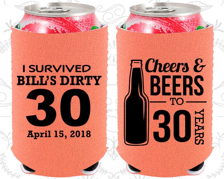 30th Birthday, 30th Neoprene Birthday, Cheers and Beers, Cheers to 30 Years, Dirty 30, Dirty Thirty, Neoprene Birthday Can Coolers (20214)