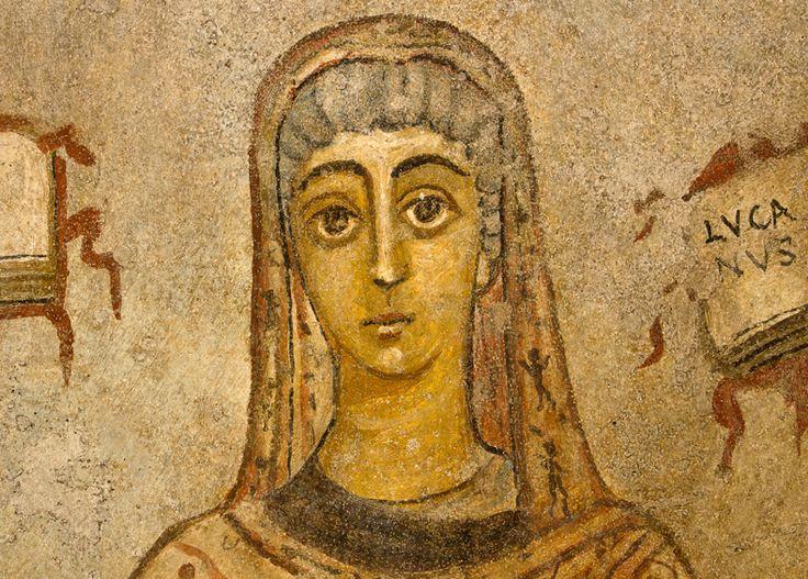 Catacombe di San Gennaro, Napoli. L'affresco dell'inizio del VI secolo. Cerula, una donna vescovo
