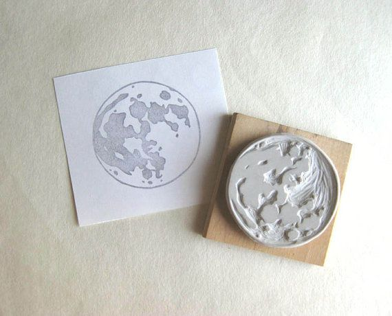 Full Moon Hand-Carved Rubber Stamp