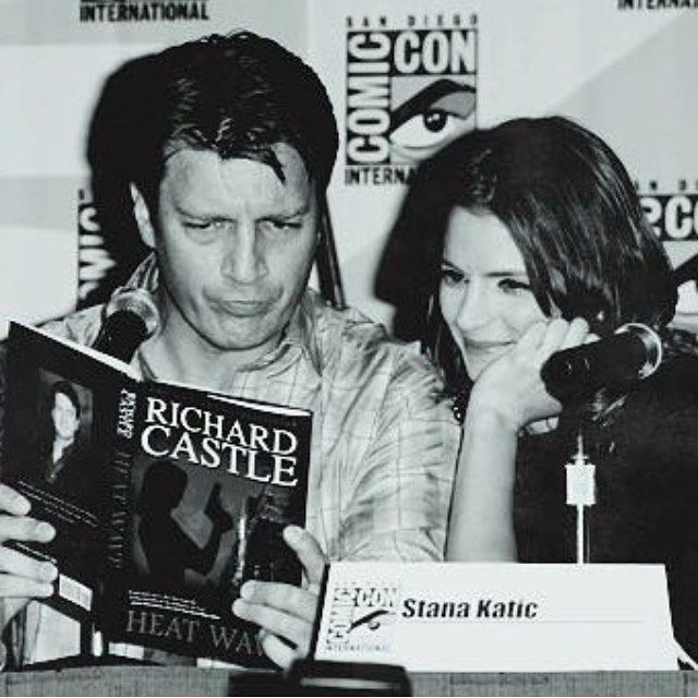 Just because they both look so happy and comfortable with each other here, I hope stana has as much fun with her new co-stars in absentia as she did in castle -  -  Off to school