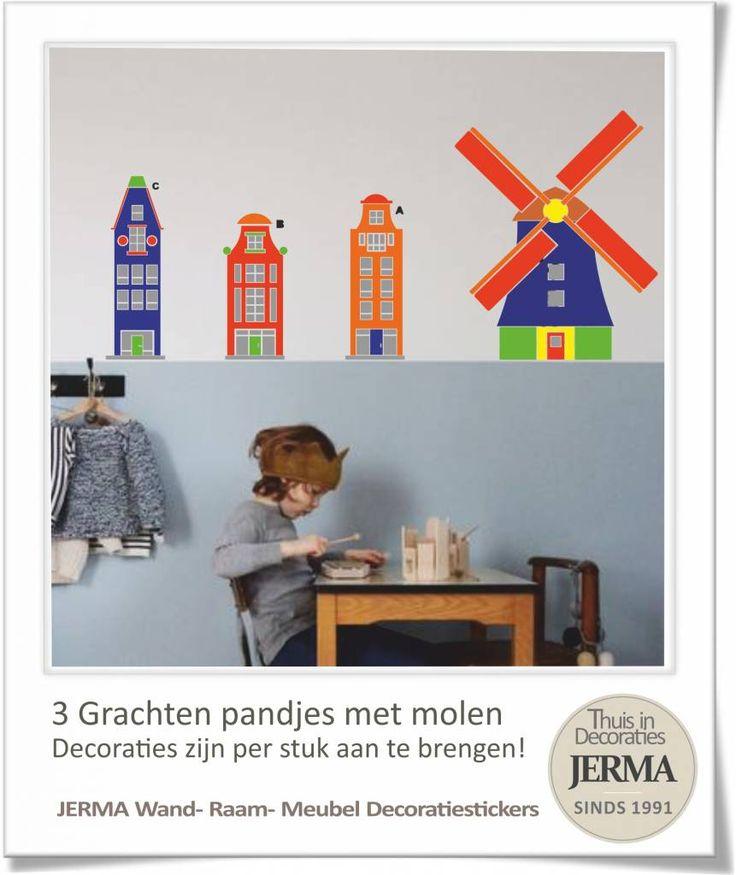 Grachtenpandjes,Molen Super grote ± 81 x 145 cm. decoratie voor het decoreren van de wand of je raam. De grachtenpandjes kun je per stuk aanbrengen en met de m