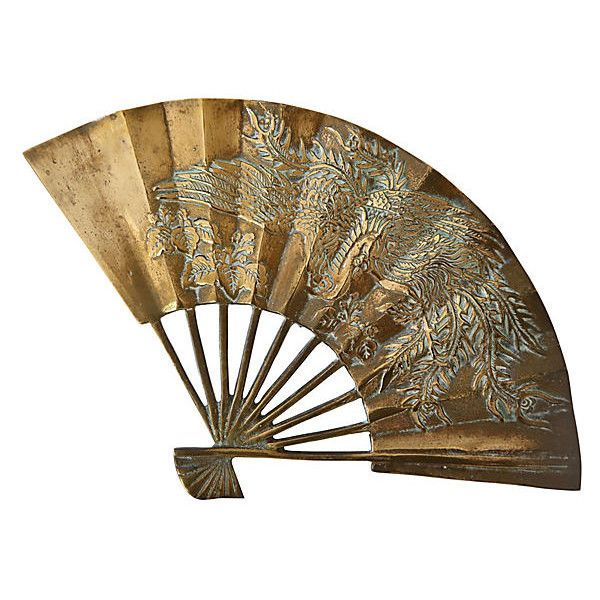 Pre-Owned Asian Brass Fan ($89) ❤ liked on Polyvore featuring home, home decor, fillers, decorative accessories, bird home decor, aqua home decor, asian home decor, oriental home decor and brass home accessories