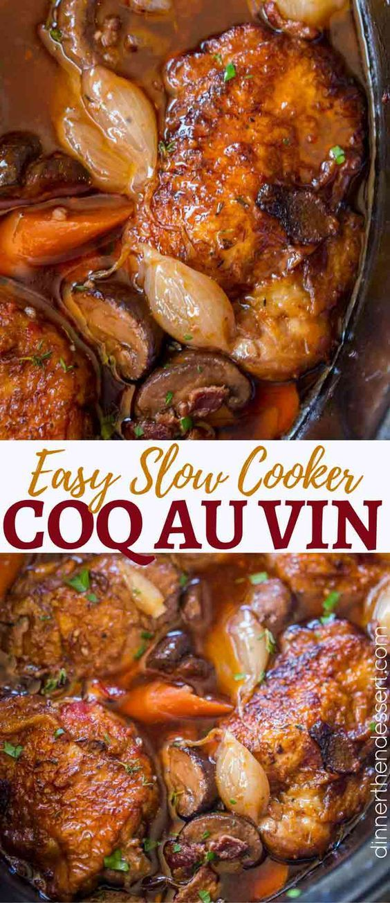 Slow Cooker Coq Au Vin has all the red wine braised chicken flavors with shallots, chicken, garlic, mushrooms and carrots in the classic French dish you love.