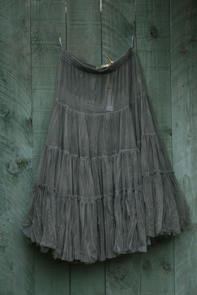 Petticoat & Unterrock - Tüll-Unterrock Petticoat Lagen-Look grau S-XL - ein Designerstück von basia-kollek bei DaWanda