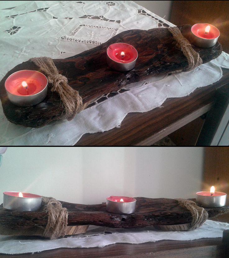 Centrotavola portacandele di legno marino driftwood corda shabby chic tealight candeliere di legno arreddamento per la casa legno naturale di VintageShop2016 su Etsy
