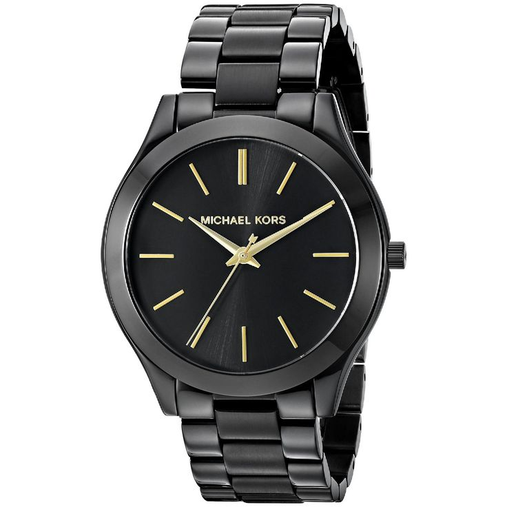 This classic timepiece by Michael Kors features a stainless steel case and bracelet. A black dial, precise quartz movement and a water-resistance level of up to 50 meters finish this fine timepiece.