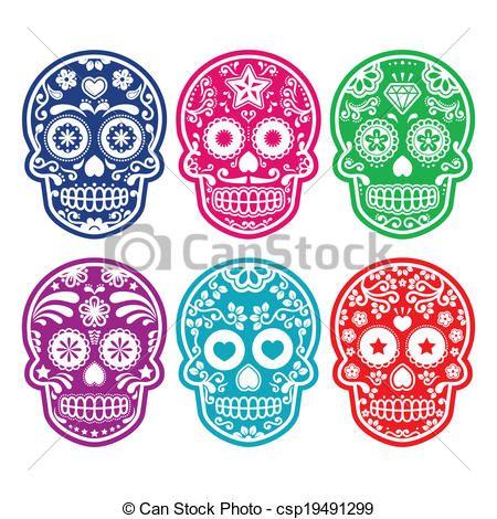 Vector - mexicaanse, suiker, schedel, kleur - stock illustratie, royalty-vrije illustraties, stock clip art symbool, stock clipart symbolen, logo, line art, EPS beeld, beelden, grafiek, grafieken, tekening, tekeningen, vector afbeelding, artwork, EPS vector kunst