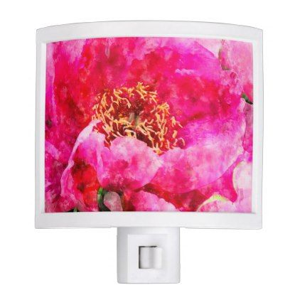 #peony watercolor pink night light - #floral #gifts #flower #flowers